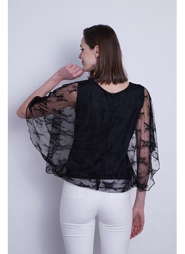 Jument Kadın Dantel Tül Detaylı Kayık Yaka Yarasa Kol Içi Astarlı Bluz-Bej Çiçek Siyah